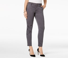 Style & Co Women's Petite Embroidered Skinny Pants, Grey