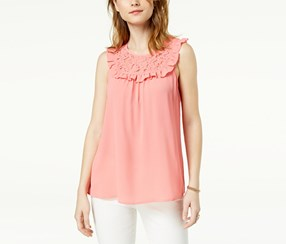 Maison Jules Women's Ruffled Lace-Contrast Top, Pink
