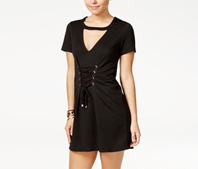 Material Girl Women's Lace-Up Cutout Dress, Black