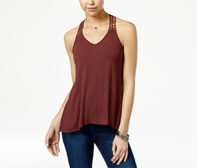 American Rag Women's Crocheted-Back High-Low Tank Top, Brown