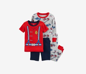 Carter's Baby Boys 4-Pieces Firefighter Pajama Set, Grey/Red