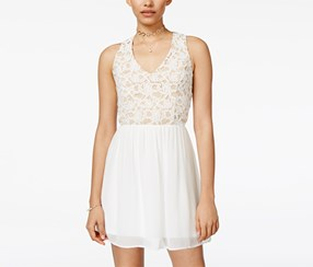 Trixxi Women's Lace Fit & Flare Dress, White/Beige