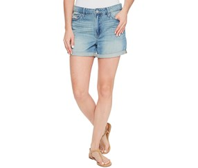 Calvin Klein Women's Cotton Ripped Boyfriend Shorts, Blue
