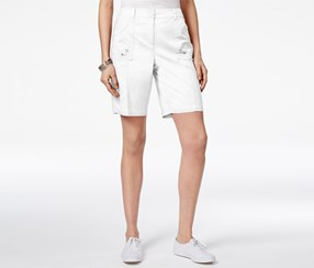 Karen Scott Women's Curved-Pocket Shorts, White