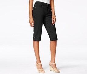 Style & co. Women's Cuffed Capri Skimmer Short, Black