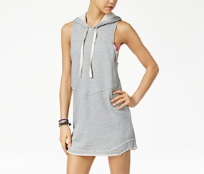 American Rag Women's Hooded Sweatshirt Dress, Grey