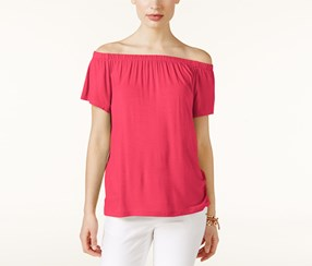 INC Women's Short Sleeve Off Shoulder Top, Pink