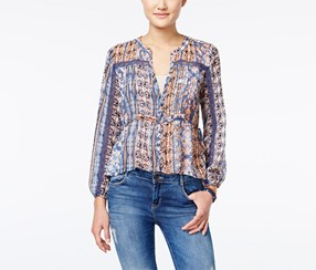 American Rag Women's Printed Pintucked Crochet-Trim Top, Blue/Brown