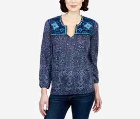 Lucky Brand Women's Embroidered Peasant Top, Blue