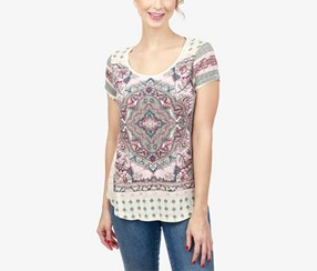 Lucky Brand Women's Printed T-Shirt, Off White/Green/Pink