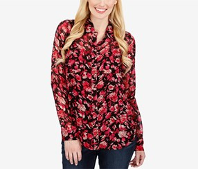 Lucky Brand Women's Printed Pocketed Shirt, Pink