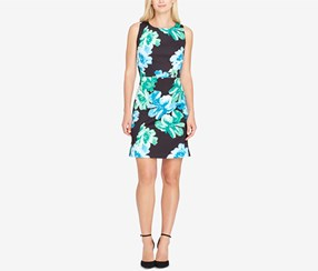 Tahari Women's Floral-Print Scuba Sheath Dress, Black/Blue