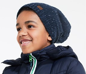Boy's Knitted Beanie Hat, Navy