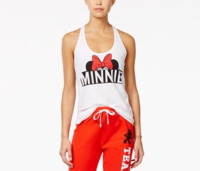 Disney Women's Minnie Graphic Racerback Tank Top, White