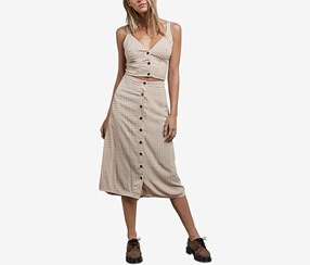 Volcom Women's Button-Down Midi Skirt, Beige