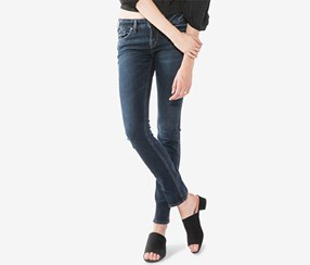 Silver Jeans Co. Women's Elyse Straight Jeans, Blue