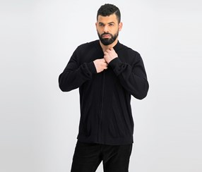 Men's Ribbed Zip-Front Cardigan, Black