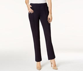 Charter Club Women's Petite Ponte-Knit Seamed Crop Pants, Navy