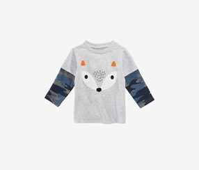 Baby Boys Layered-Look Fox-Print T-Shirt, Chrome Heather