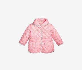 Baby Girls Quilted Barn Jacket, Pink Hydrangea
