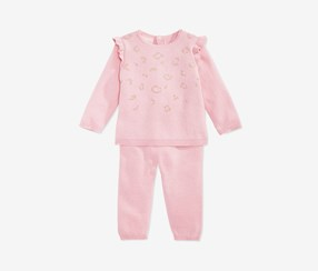 Girls Cotton Sweater & Pants Set, Blush