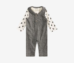 Toddler Boys 2-Pc. Llama-Print T-Shirt & Shawl-Neck Overall Set, Deep Black