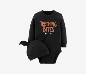 Infant Boys & Girls Halloween Bodysuit Teething Bites Creeper & Hat Set, Black