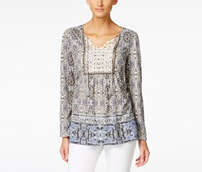 Style & Co. Women's Printed Peasant Top, Blue