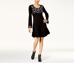 Style & Co Women's Embroidered Sweater Dress, Black