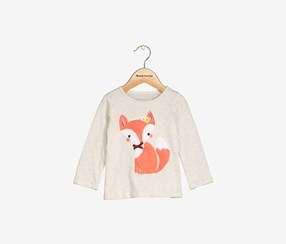 Toddlers Girl's Long Sleeve Top, Beige