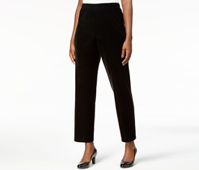 Alfred Dunner Velvet Pull-On Straight-Leg Pants, Black