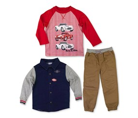 Nannette Boy's 3 pieces Set, Navy/Tan/Red