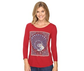 Lucky Brand Women's Peacock Graphic Top, Red