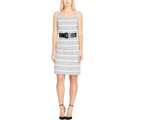 Tahari Women's Belted Boucle Sheath Dress, White/Blue
