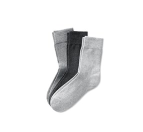Men's 3 Pairs Of Socks, Grey/Dark Grey