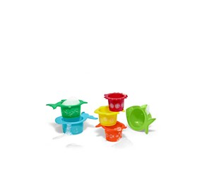 Bath Play Cups Set of 6, Red/Orange/yellow/Green/Blue