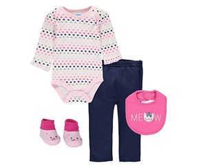 Bon Bebe Girl's 4 Pc Pant Set with Bib Bodysuit and Booties, Pink/White/Navy