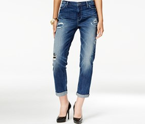 Dkny Women's Bowery Ripped Patched Boyfriend Jeans, Blue