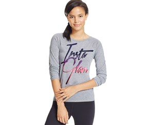 Material Girl Juniors T-Back Graphic Top, Heather Gray