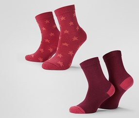 Girls Socks With Cotton 2 Pairs, Red