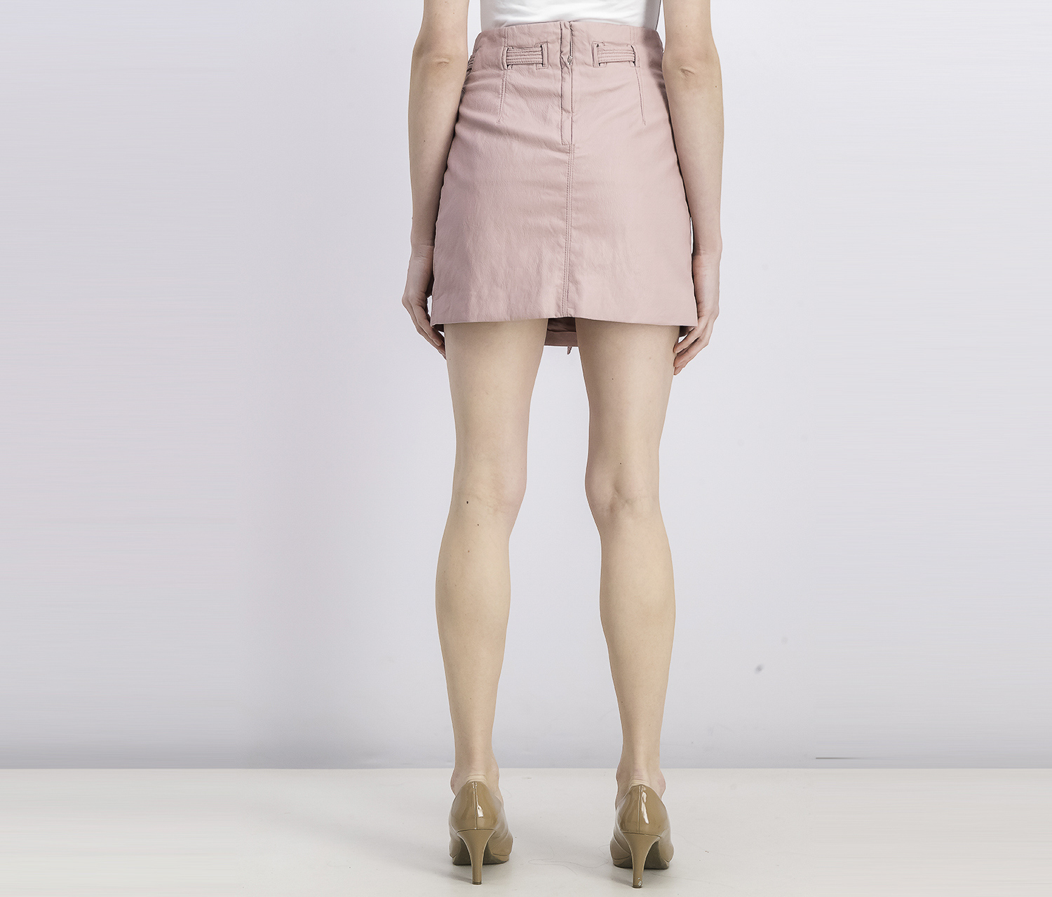 FREE PEOPLE Womens Pink Faux Leather Payton Paper Bag Mini Skirt 2
