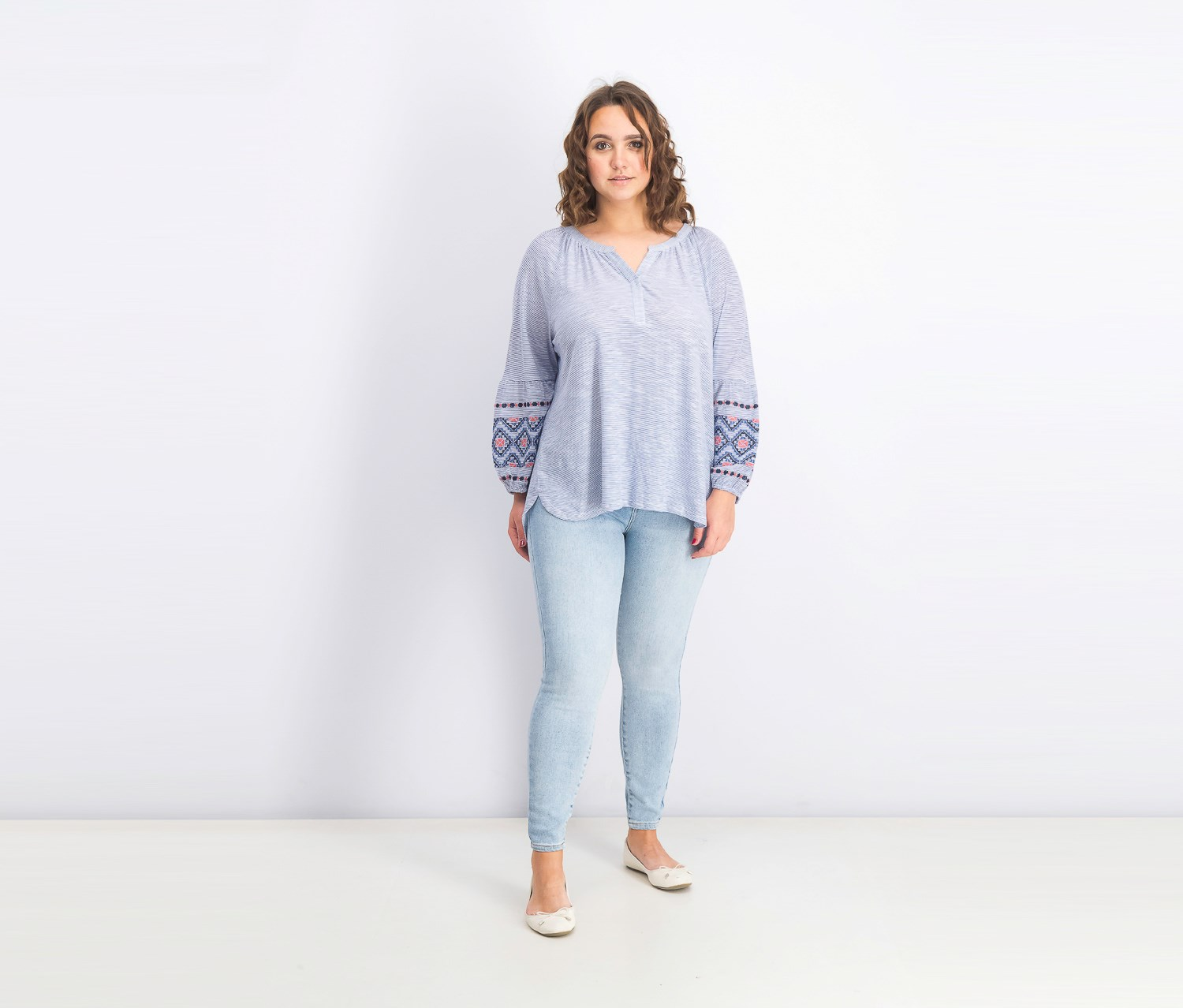 Cotton Striped Embroidered Top Style /& Co