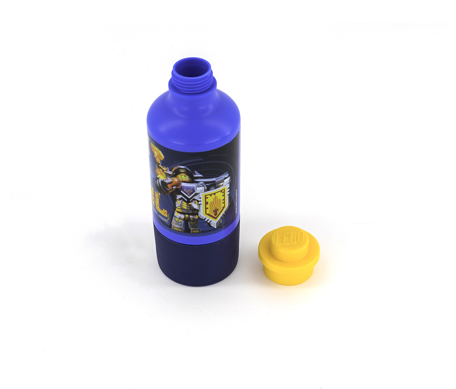 Bright Blue LEGO Drinking Bottle With Cup Nexo Knights