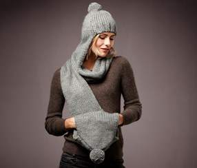 Women's Knitted Scarf Cap, Gray