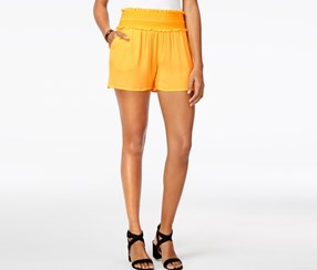 Bcx Juniors' Embroidered Ruffle Soft Shorts, Mustard