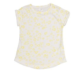 Lefties Kids Girls Printed Tee, White/Yellow