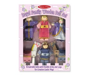 Melissa & Doug Royal Family Wooden Poseable Doll Set, Pink/Purple