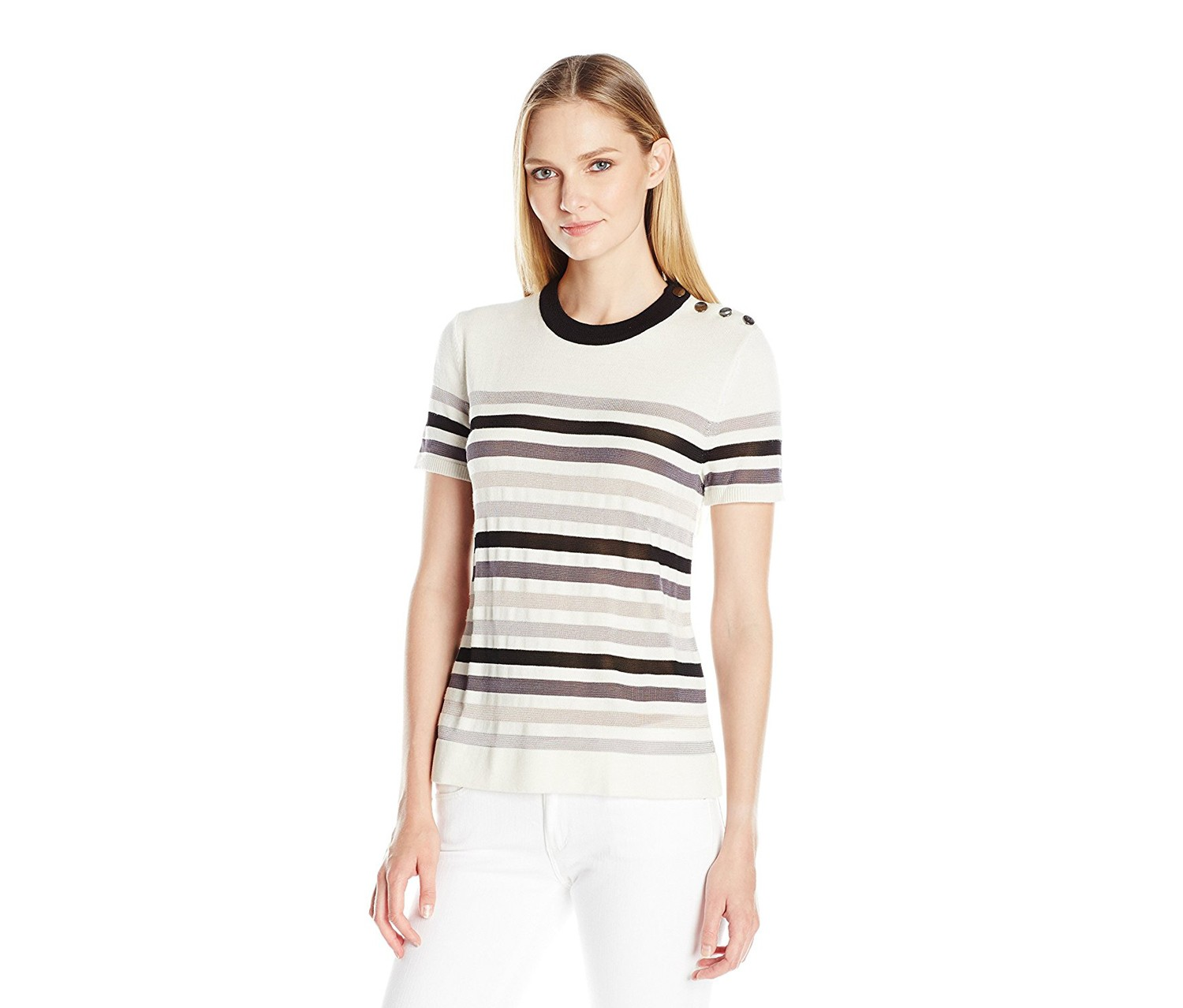 b0d56678a56 Shop Anne Klein Women's Stripe Short Sleeve Sweater Tee, Black Combo ...