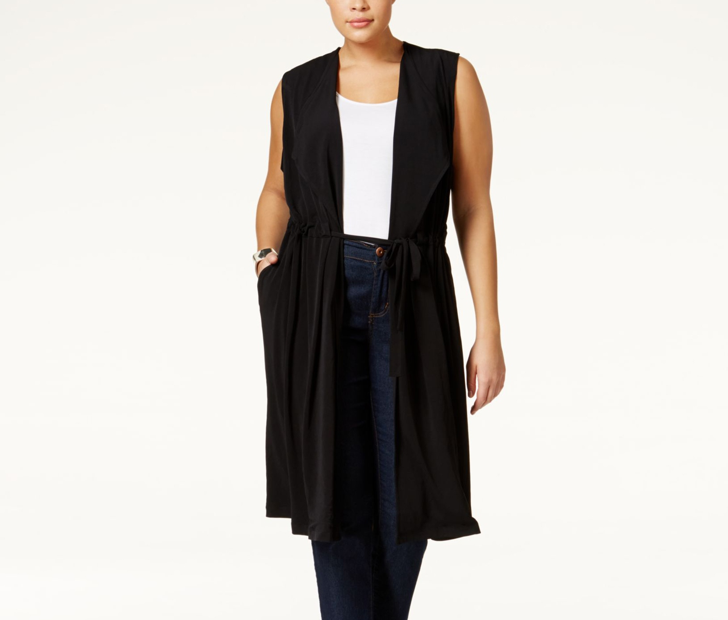 cb8793cf219e7f Shop Alfani Alfani Plus Size Tied-Waist Long Vest, Deep Black for ...