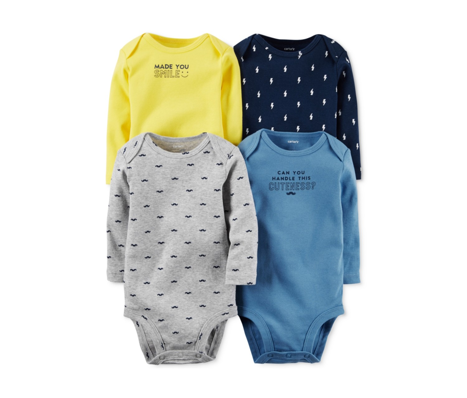 f9bb8bf25 Shop Carters Carter's Baby Boys 4-Pack Mustache Bodysuits, Blue/Grey ...